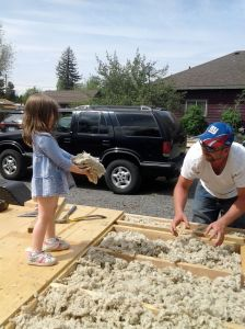 The whole family helped with the insulation!